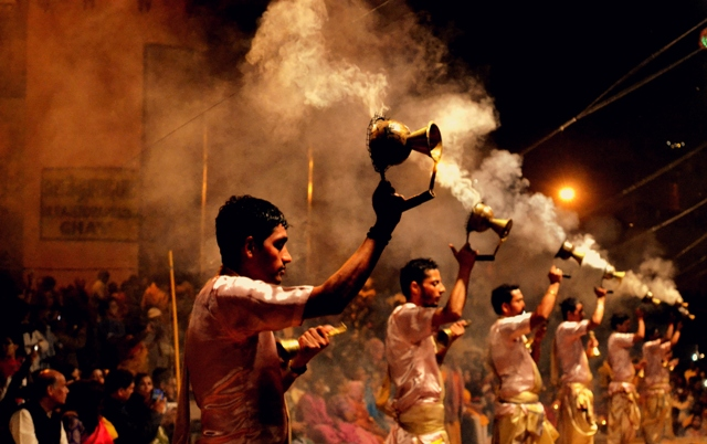 One of the most famous rituals, performed every evening in Varanasi is Ganga Aarti. During this the city gets ignited with lamps, accompanied with poignant chats... (Photo by Mukund Prabhakar)