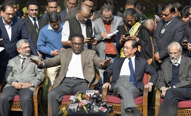 Judges: Jasti Chelameswar, Ranjan Gogoi, Madan Lokur and Kurian Joseph in Press Conference